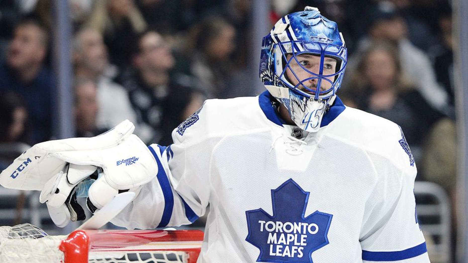 Jan 12, 2015; Los Angeles, CA, USA; Toronto Maple Leafs goalie Jonathan Bernier (45) looks on during the game against the Los Angeles Kings at Staples Center. Kings won 2-0. Mandatory Credit: Jayne Kamin-Oncea-USA TODAY Sports