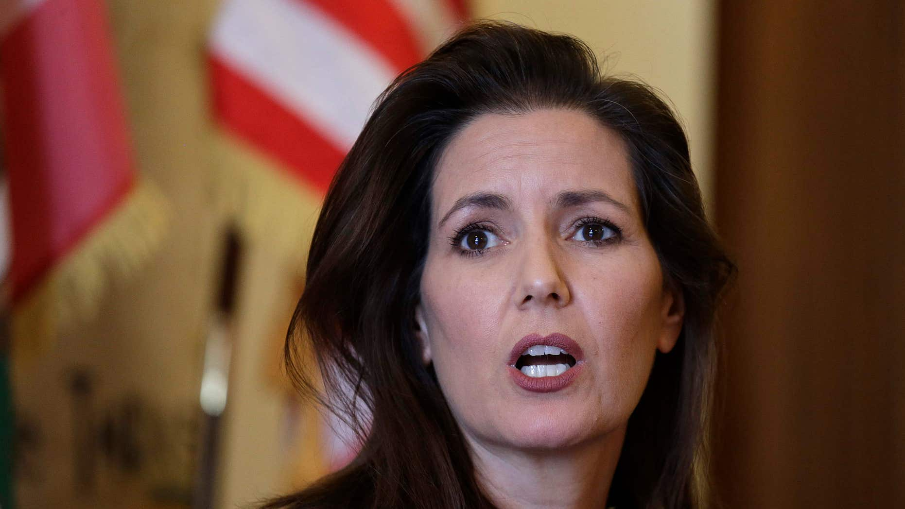 Oakland Mayor Libby Schaaf answers questions during a news conference at City Hall Wednesday, June 15, 2016, in Oakland, Calif.