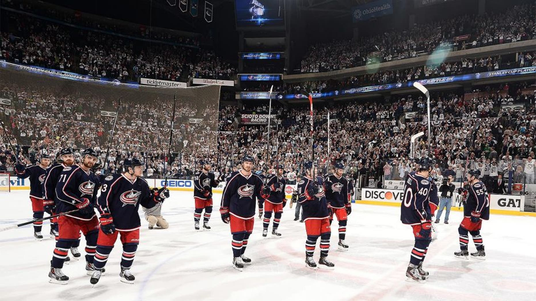 COLUMBUS, OH - APRIL 28: The Columbus Blue Jackets salute their fans after Game Six of the First Round of the 2014 Stanley Cup Playoffs on April 28, 2014 at Nationwide Arena in Columbus, Ohio. Pittsburgh defeated Columbus 4-3 to clinch the first round series. (Photo by Jamie Sabau/NHLI via Getty Images)