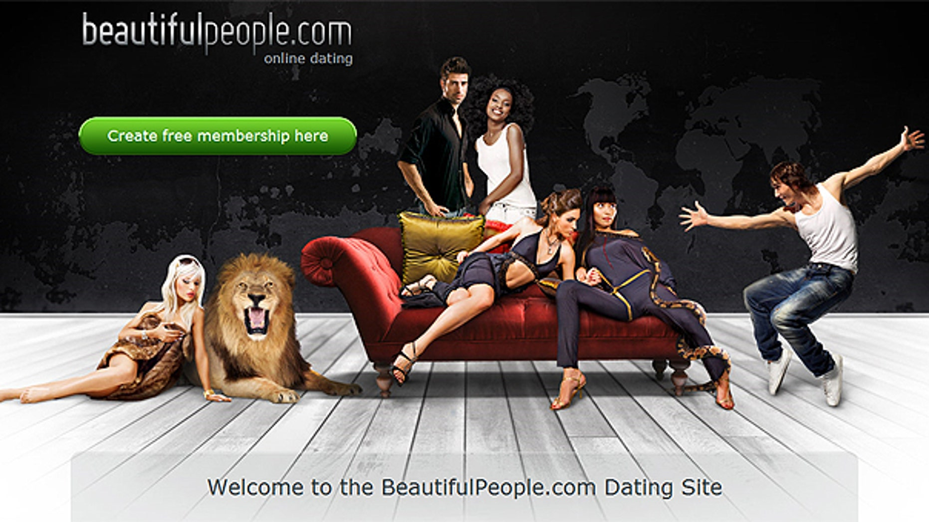 This screengrab shows the homepage of Denmark-based website Beautifulpeople.com.