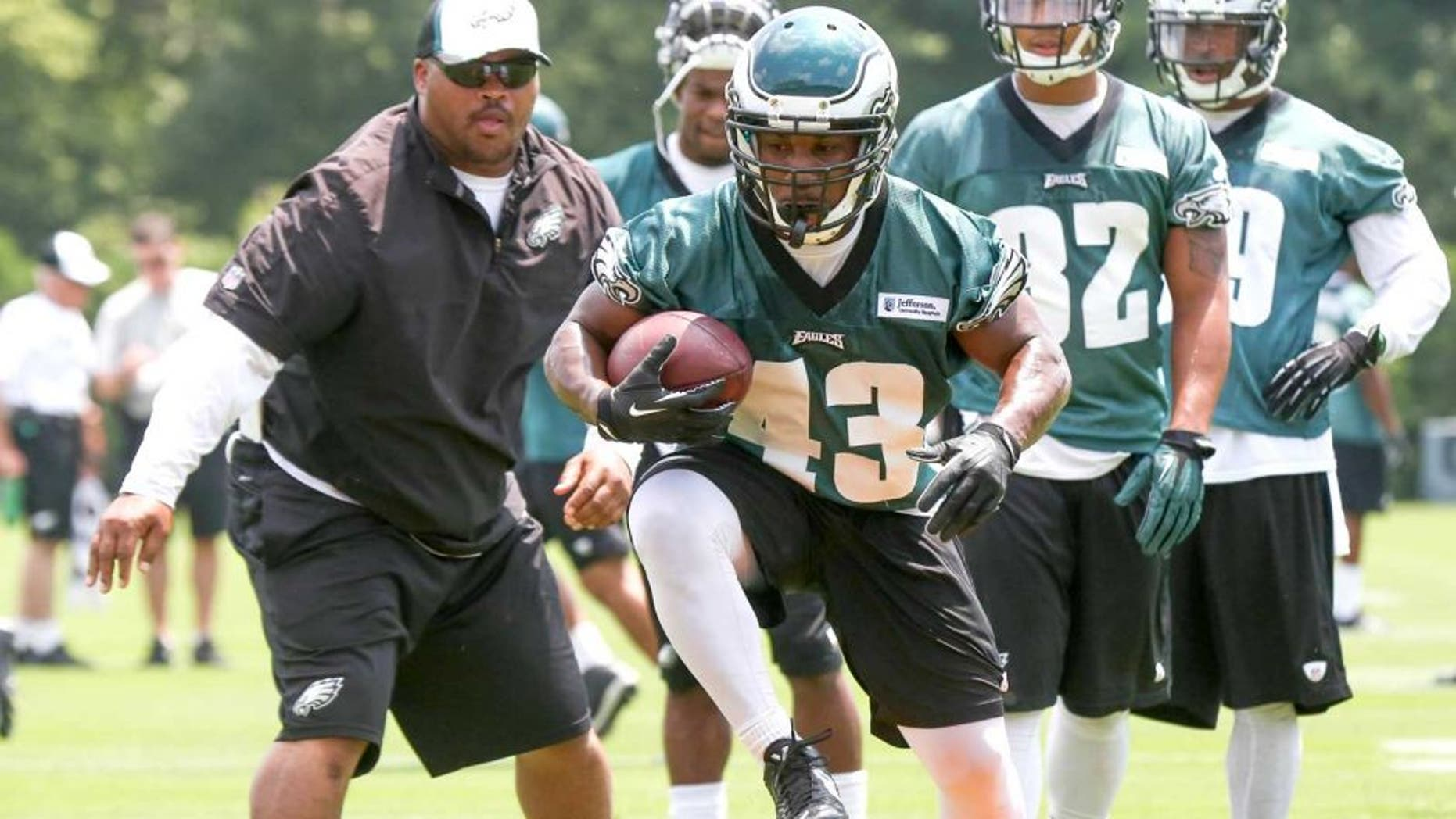 Jun 17, 2014; Philadelphia, PA, USA; Running back Darren Sproles (43) runs drills during mini camp at the Philadelphia Eagles NovaCare Complex. Mandatory Credit: Bill Streicher-USA TODAY Sports