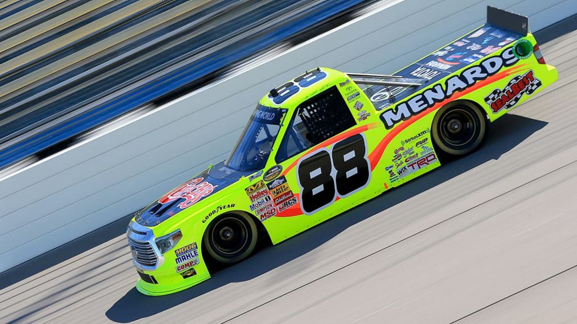 NEWTON, IA - JUNE 19: Matt Crafton, driver of the #88 Chi-Chi's/Menards Toyota, races during qualifying for the NASCAR Camping World Truck Series American Ethanol 200 at Iowa Speedway on June 19, 2015 in Newton, Iowa. (Photo by Daniel Shirey/NASCAR via Getty Images)