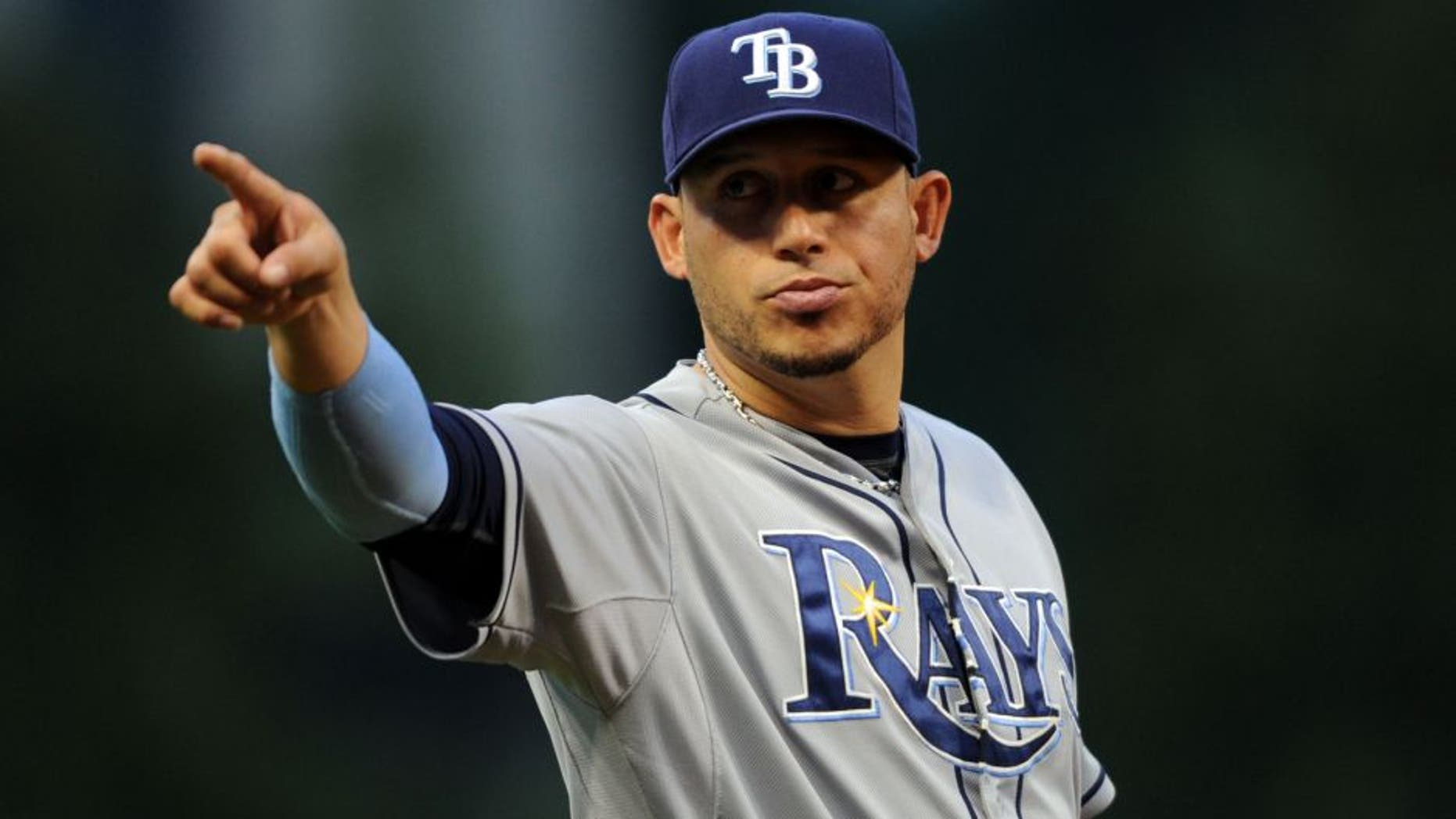 Jun 19, 2015; Cleveland, OH, USA; Tampa Bay Rays shortstop Asdrubal Cabrera (13) points to fans during the sixth inning against the Cleveland Indians at Progressive Field. Mandatory Credit: Ken Blaze-USA TODAY Sports