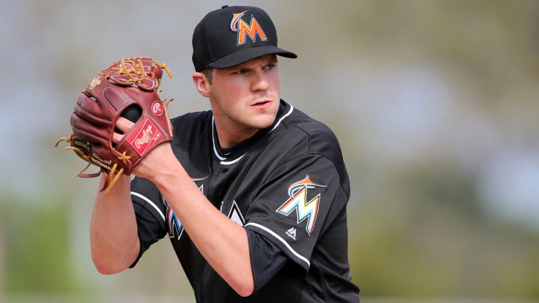 Feb 21, 2016; Jupiter, FL, USA; Miami Marlins pitcher Paul Clemens (50) during work out drills at Roger Dean Stadium. Mandatory Credit: Steve Mitchell-USA TODAY Sports