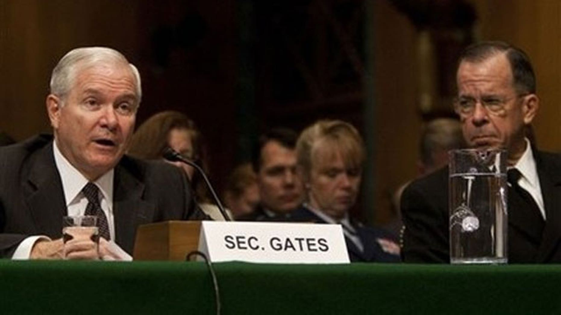 FILE: Defense Secretary Robert Gates and Joint Chiefs of Staff Chairman Adm. Mike Mullen testify at the Senate Armed Services Committee on June 17, 2010. (AP).