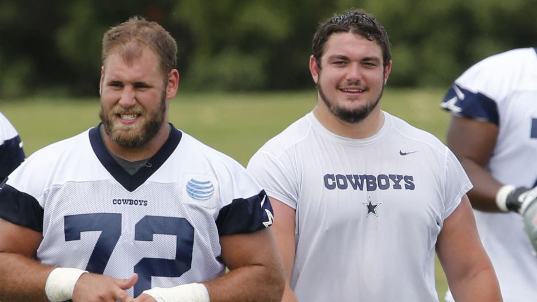 Jun 17, 2014; Dallas, TX, USA; Dallas Cowboys number one draft pick Zack Martin (70) with center Travis Frederick (72) during minicamp at Cowboys headquarters at Valley Ranch. Mandatory Credit: Matthew Emmons-USA TODAY Sports