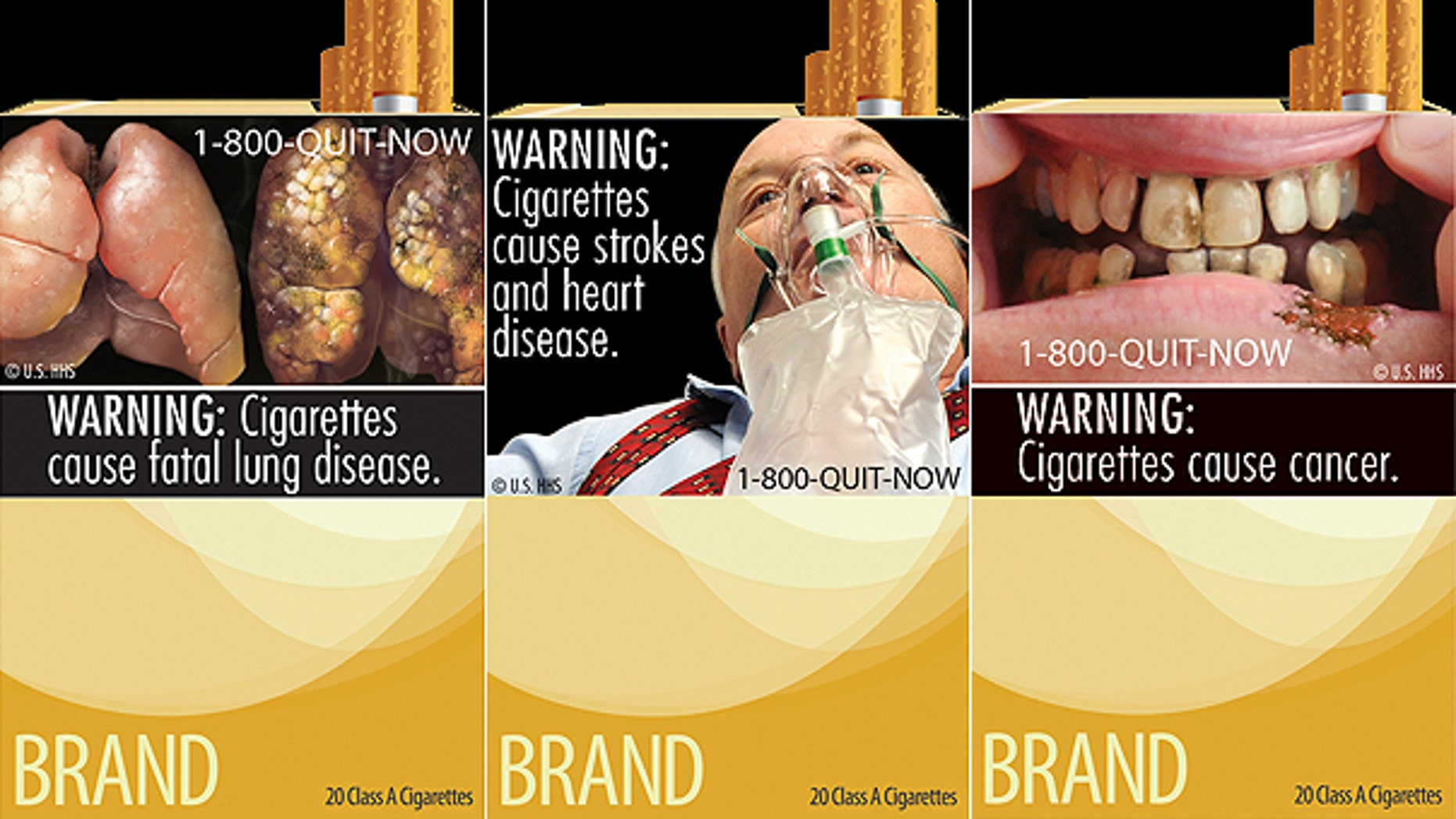 This composite image shows three of the FDA's new warning labels for cigarette packages.