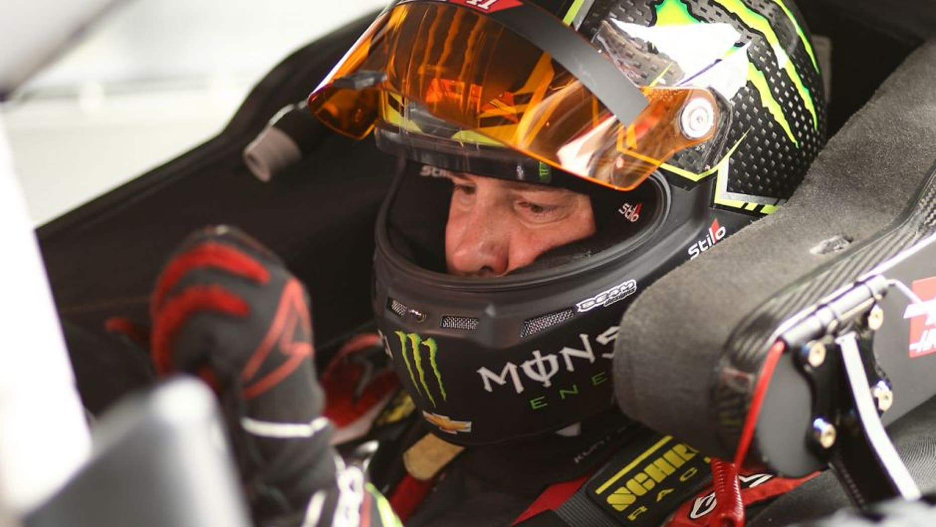 BROOKLYN, MI - JUNE 10: Kurt Busch, driver of the #41 Haas Automation/Monster Energy Chevrolet, sits in his car during practice for the NASCAR Sprint Cup Series FireKeepers Casino 400 at Michigan International Speedway on June 10, 2016 in Brooklyn, Michigan. (Photo by Rey Del Rio/Getty Images )