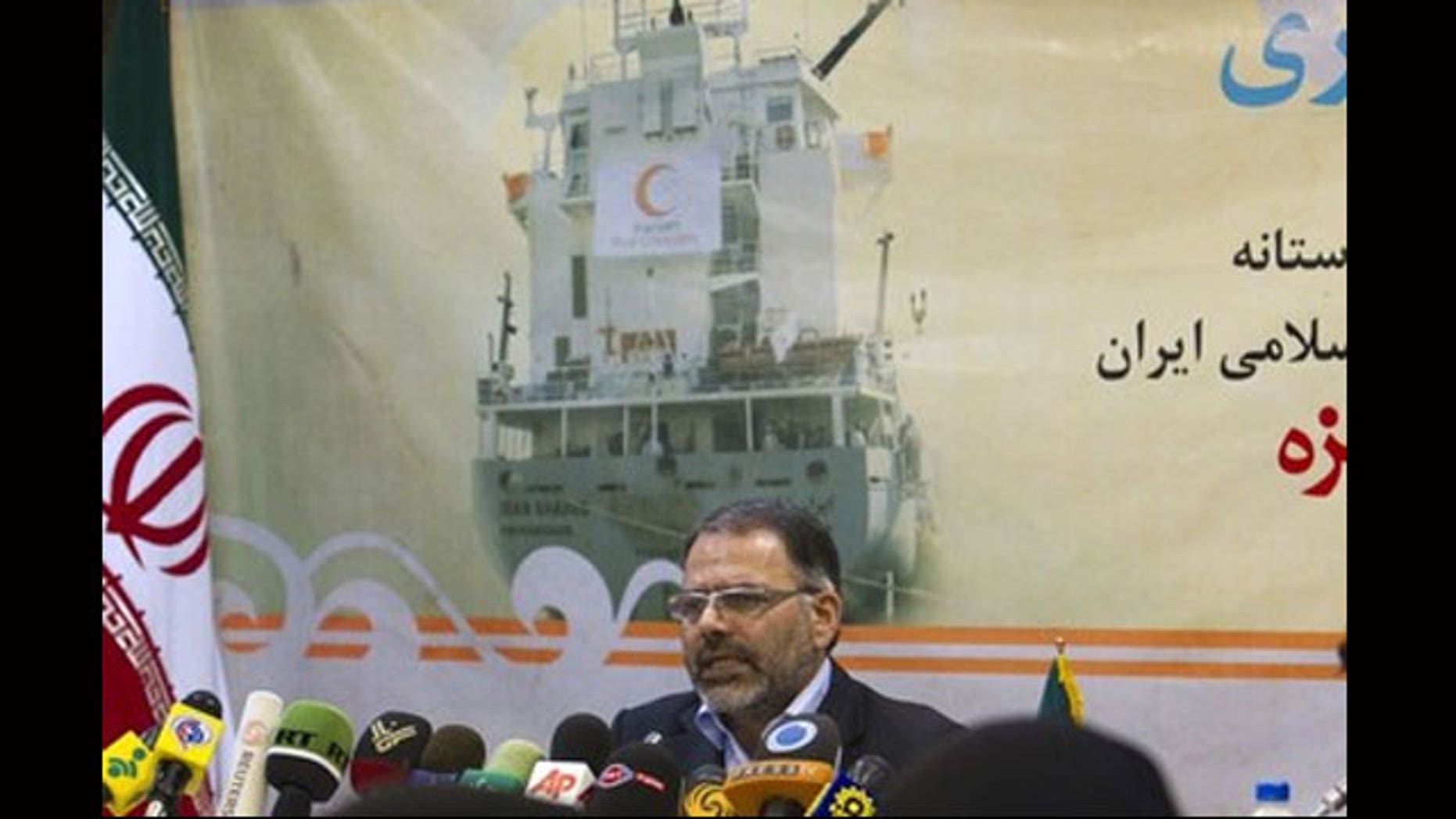 June 22: Iran's Red Crescent Director for International Affairs, Abdul Rauf Adibzadeh, speaks with journalists during a news conference in Tehran. Iran is sending aid ships to blockaded Gaza.