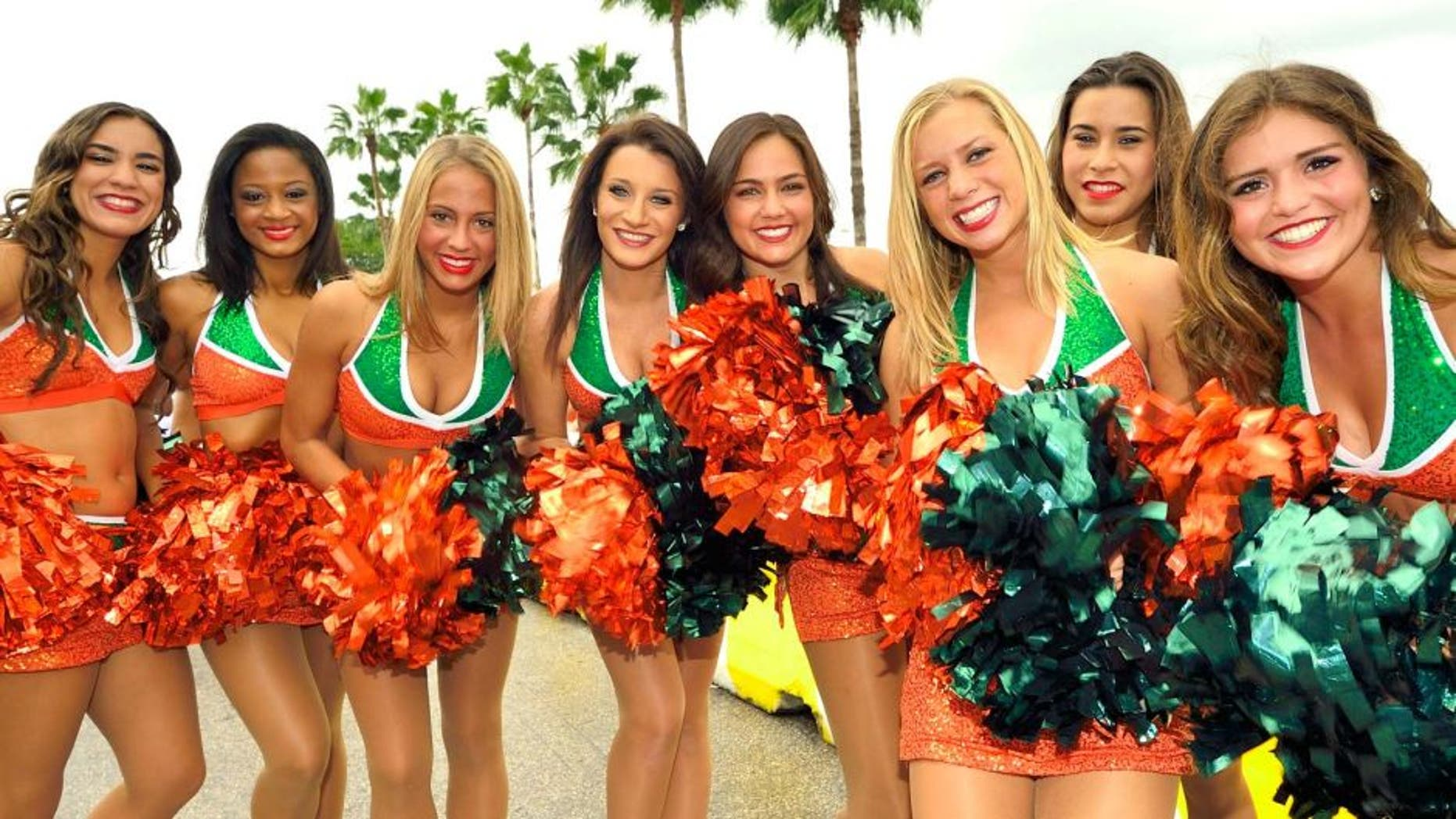 Oct 13, 2012; Miami, FL, USA; Miami Hurricanes cheerleaders are seen before a game between the North Carolina Tar Heels and the Miami Hurricanes at Sun Life Stadium. Mandatory Credit: Steve Mitchell-USA TODAY Sports
