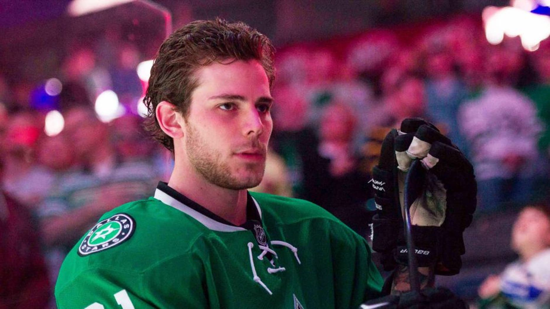 Apr 3, 2015; Dallas, TX, USA; Dallas Stars center Tyler Seguin (91) prepares to face the St. Louis Blues at the American Airlines Center. The Blues defeat the Stars 7-5. Mandatory Credit: Jerome Miron-USA TODAY Sports