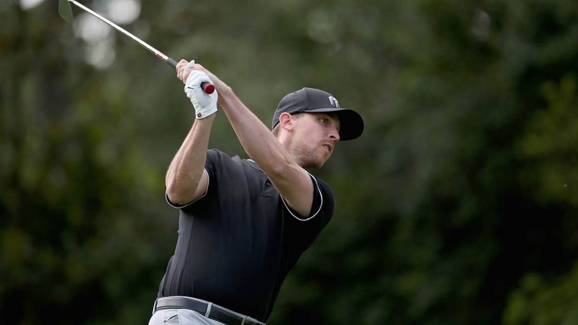 CHARLOTTE, NC - MAY 04: Nascar driver, Denny Hamlin plays in the pro-am ahead of the 2016 Wells Fargo Championship at Quail Hollow Club on May 11, 2016 in Charlotte, North Carolina. (Photo by Streeter Lecka/Getty Images)