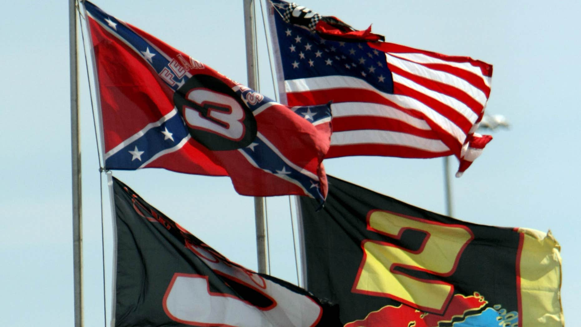 Feb. 15, 2008: Flags, including a Confederate flag, fap in the wind during practice for the NASCAR Sprint Cup Series Daytona 500 auto race at Daytona International Speedway in Daytona Beach, Fla.