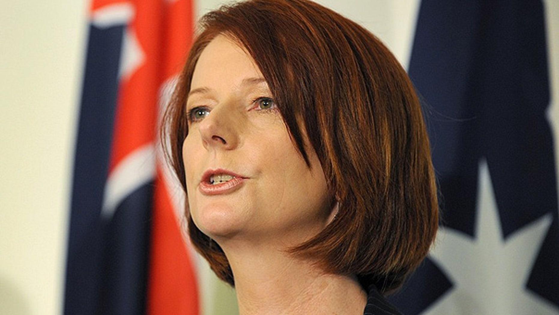June 24: Australia's new prime minister Julia Gillard speaks during a press conference, in Canberra.