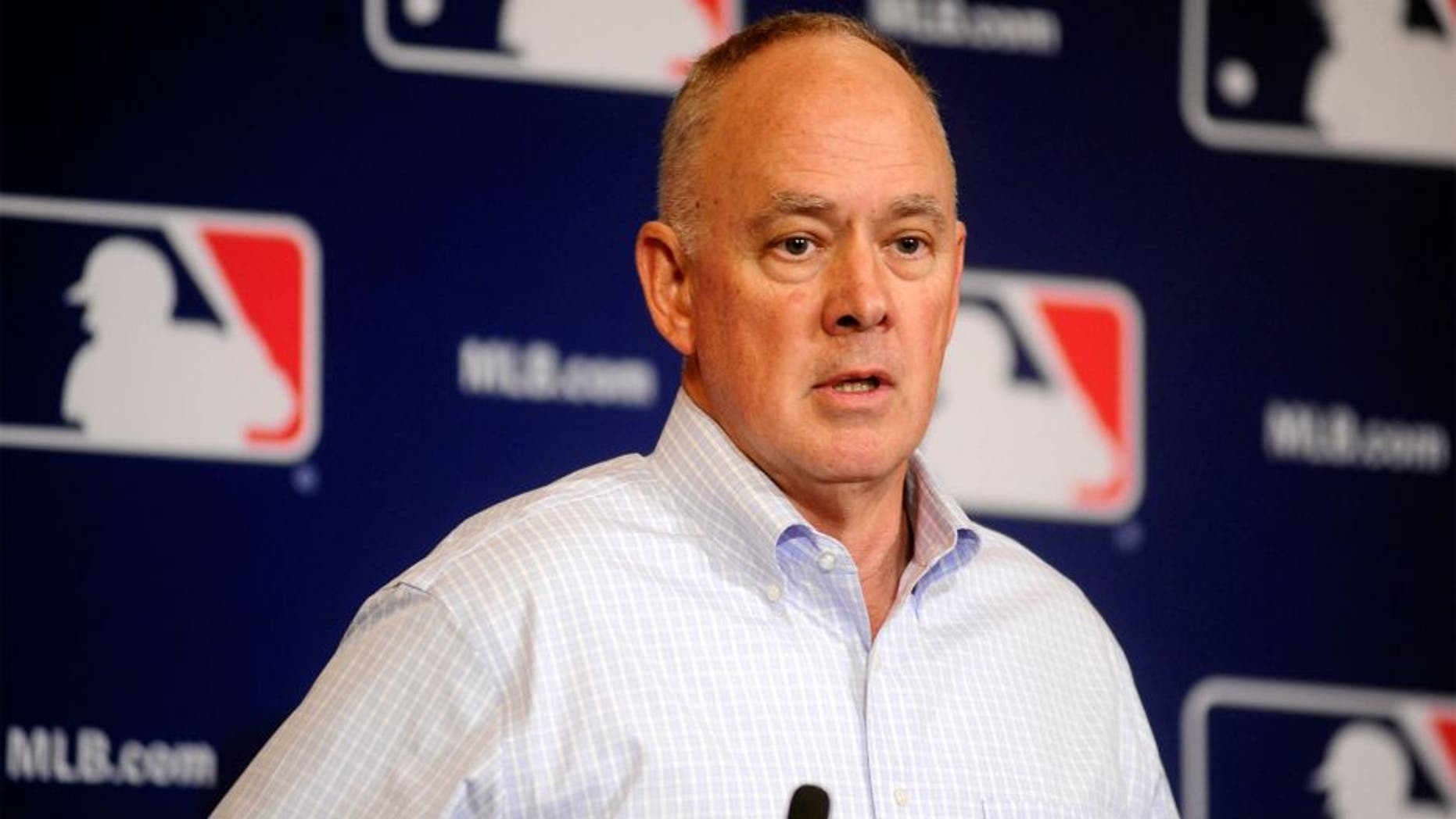 Dec 11, 2013; Orlando, FL, USA; New York Mets general manager Sandy Alderson announces that the MLB rules committee approved a change eliminating collisions at home plate during the MLB Winter Meetings at the Walt Disney World Swan and Dolphin Resort. The proposed rule change goes to the owners and the MLB Players association for approval. Mandatory Credit: David Manning-USA TODAY Sports