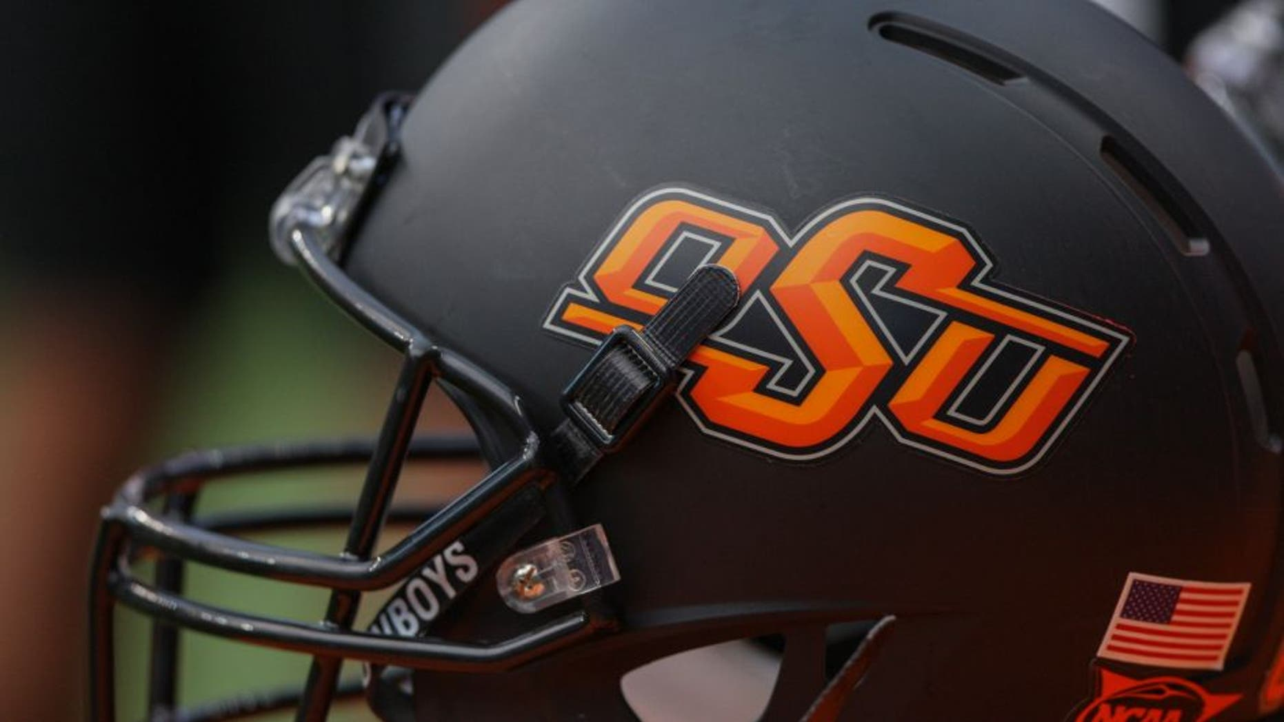 Aug 31, 2013; Houston, TX, USA; General view of an Oklahoma State Cowboys helmet during a game against the Mississippi State Bulldogs at Reliant Stadium. Mandatory Credit: Troy Taormina-USA TODAY Sports