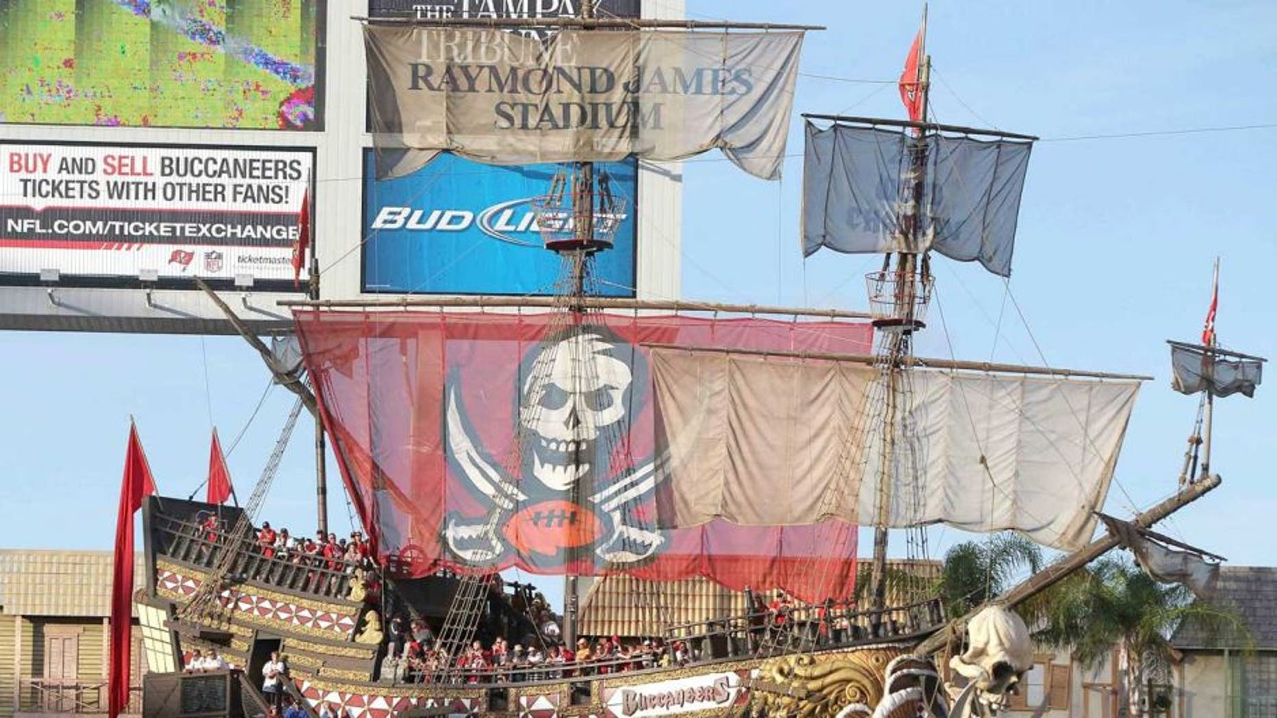 December 9, 2012; Tampa, FL, USA; An overview of the Tampa Bay Buccaneers pirate ship against the Philadelphia Eagles during the second half at Raymond James Stadium. Philadelphia Eagles defeated the Tampa Bay Buccaneers 23-21. Mandatory Credit: Kim Klement-USA TODAY Sports