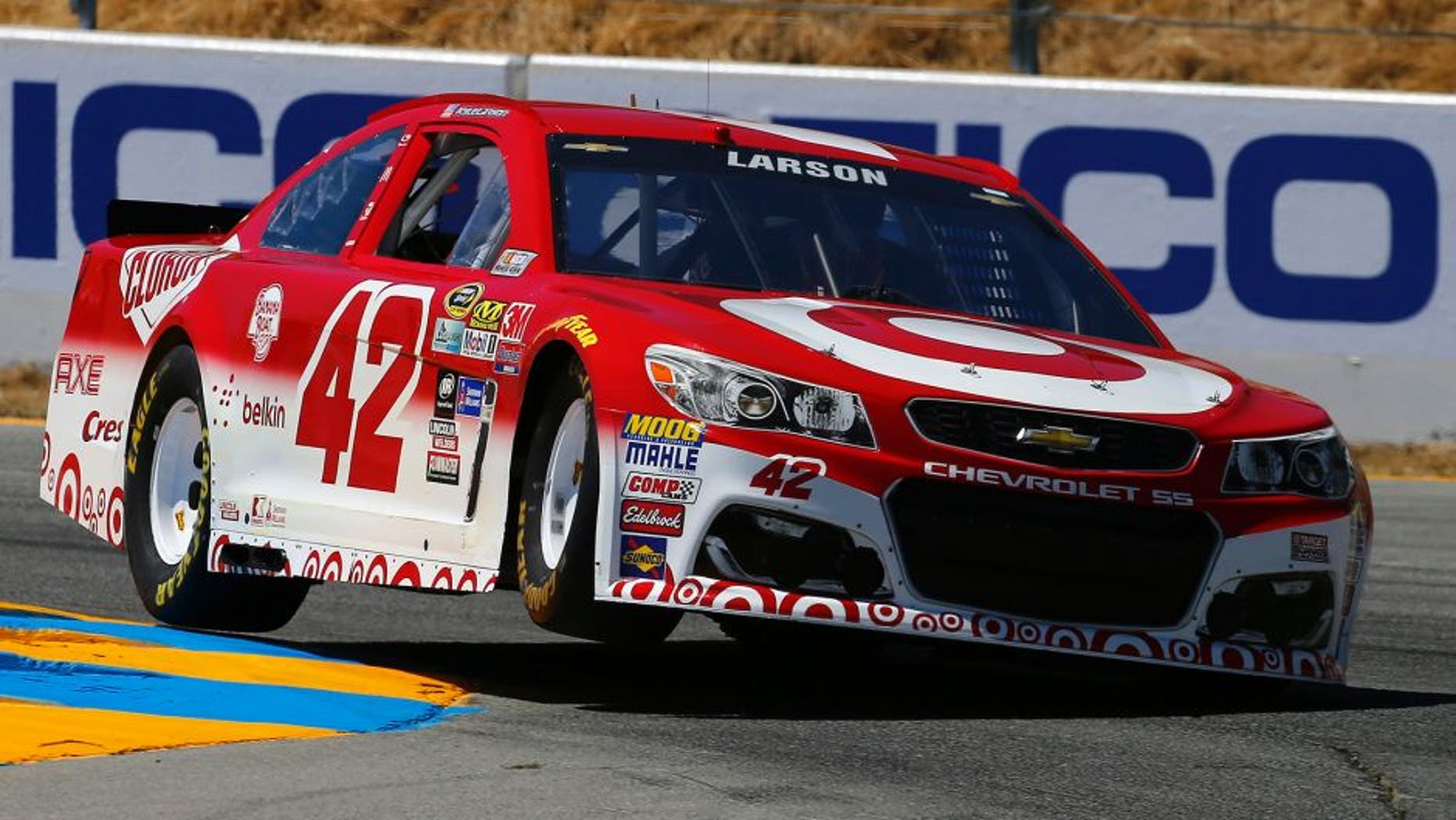SONOMA, CA - JUNE 25: Kyle Larson, driver of the #42 Target Chevrolet, qualifies for the NASCAR Sprint Cup Series Toyota/Save Mart 350 at Sonoma Raceway on June 25, 2016 in Sonoma, California. (Photo by Jonathan Ferrey/Getty Images)