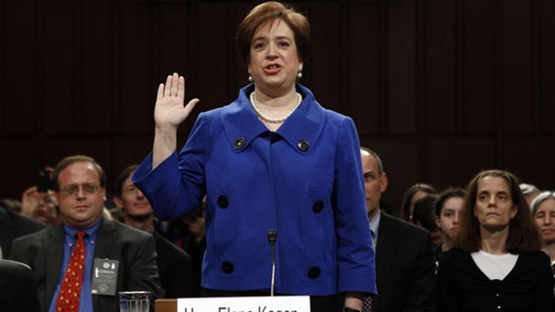 June 28: U.S. Supreme Court nominee Elena Kagan is sworn in to testify during the first day of her Senate Judiciary Committee confirmation hearings on Capitol Hill in Washington (Reuters).