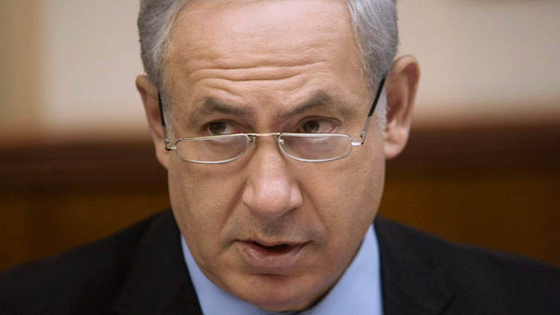 Israeli Prime Minister Benjamin Netanyahu, speaks during the weekly cabinet meeting at his Jerusalem office, Sunday, June. 27, 2010. (AP Photos/Dan Balilty, Pool)