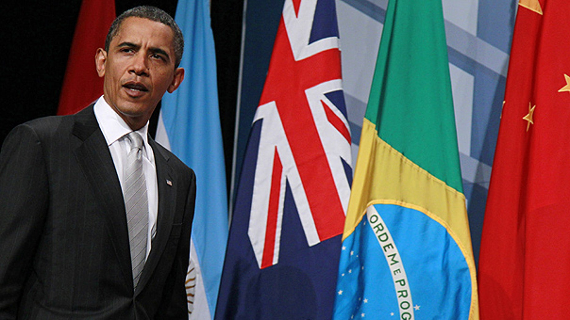 June 27: President Obama arrives for his closing press conference at the G-20 summit in Toronto.
