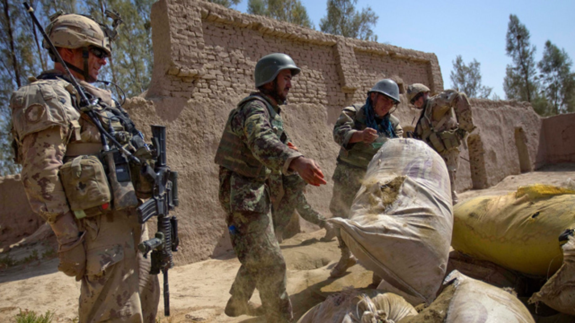 June 27: Afghan Army soldiers pile up approximately a thousand pounds of hashish to burn after it was discovered during a joint operation with Canadian Army's 1st Battalion 22nd Royal Regiment, in the Panjwaii district of Kandahar province, Afghanistan.
