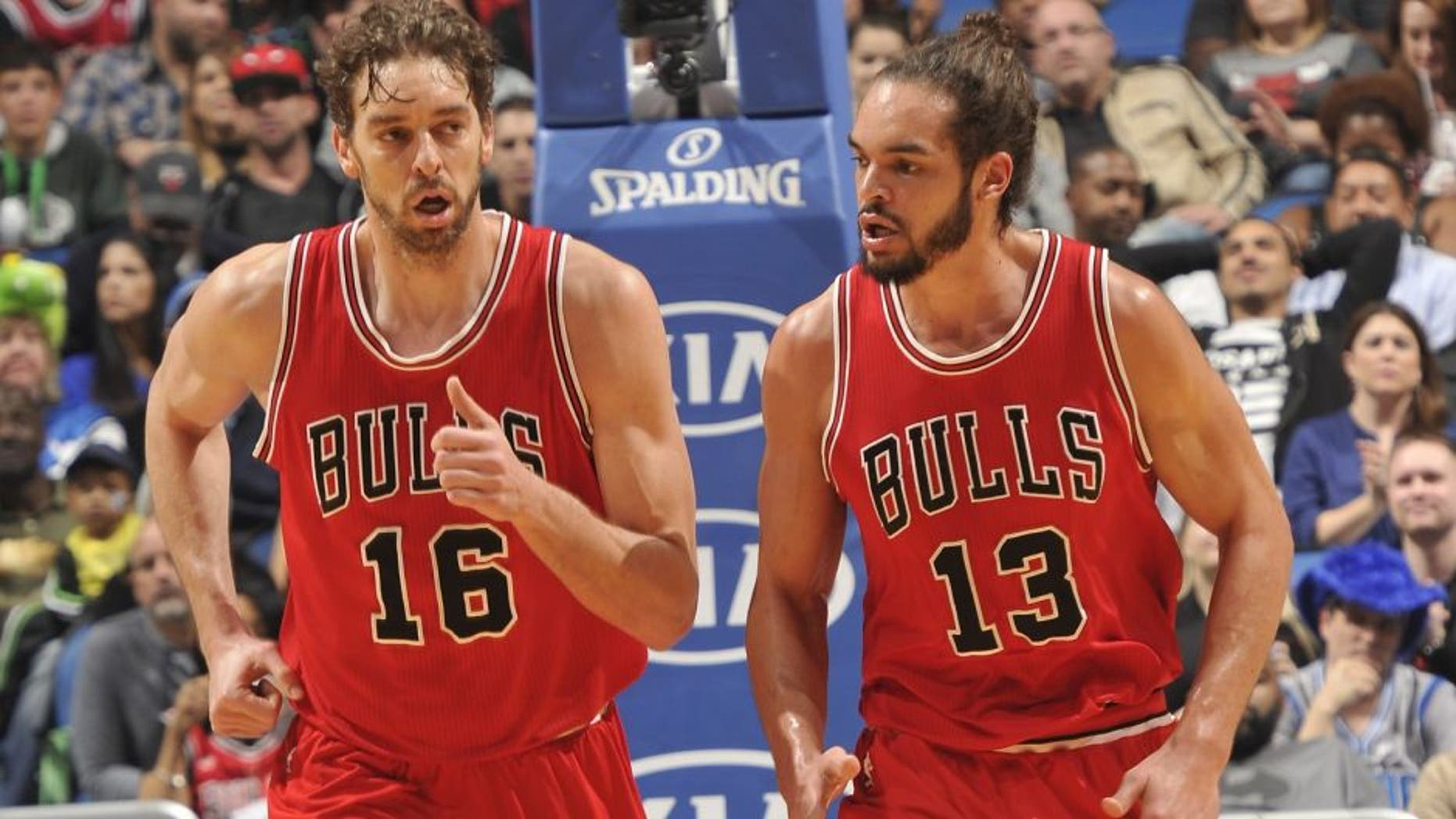 ORLANDO, FL - FEBRUARY 8: Pau Gasol #16 and Joakim Noah #13 of the Chicago Bulls during the game against the Orlando Magic on February 8, 2015 at Amway Center in Orlando, Florida. NOTE TO USER: User expressly acknowledges and agrees that, by downloading and or using this photograph, User is consenting to the terms and conditions of the Getty Images License Agreement. Mandatory Copyright Notice: Copyright 2015 NBAE (Photo by Fernando Medina/NBAE via Getty Images)