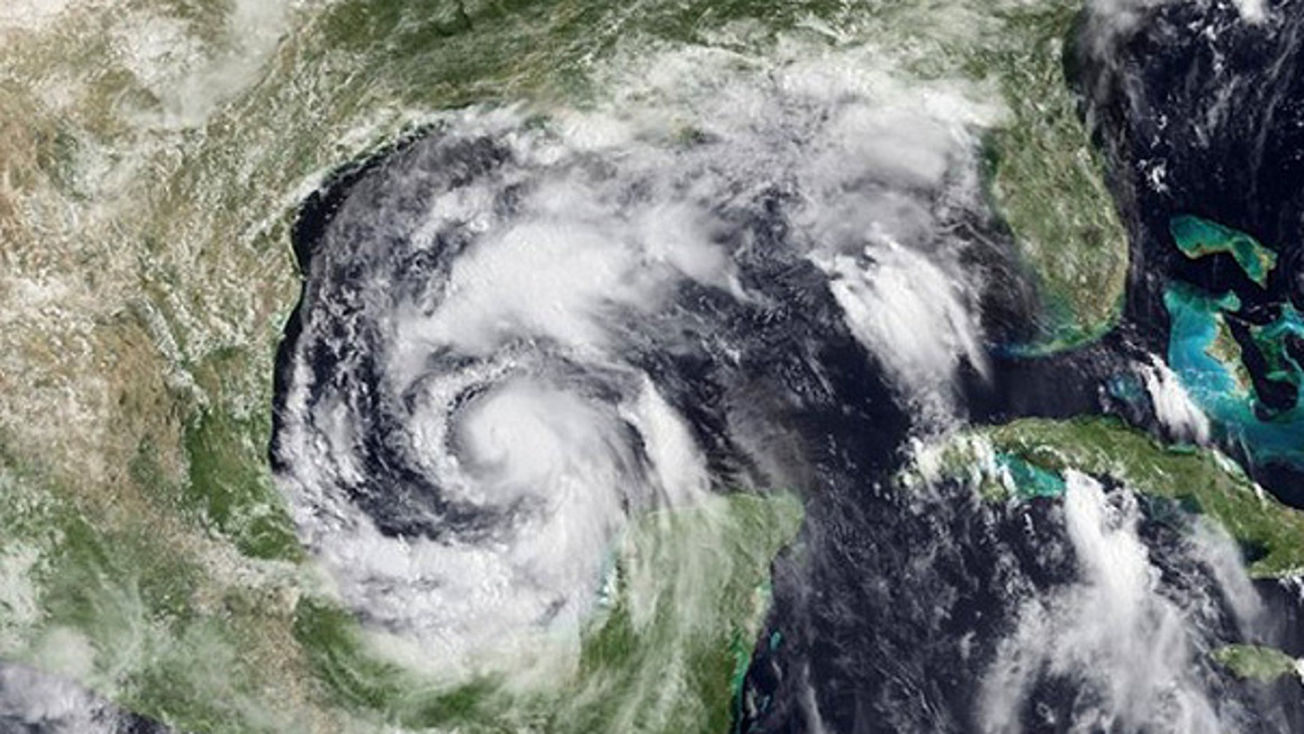 June 29: Hurricane Alex is seen as it closes in on land near the Mexico-Texas border.