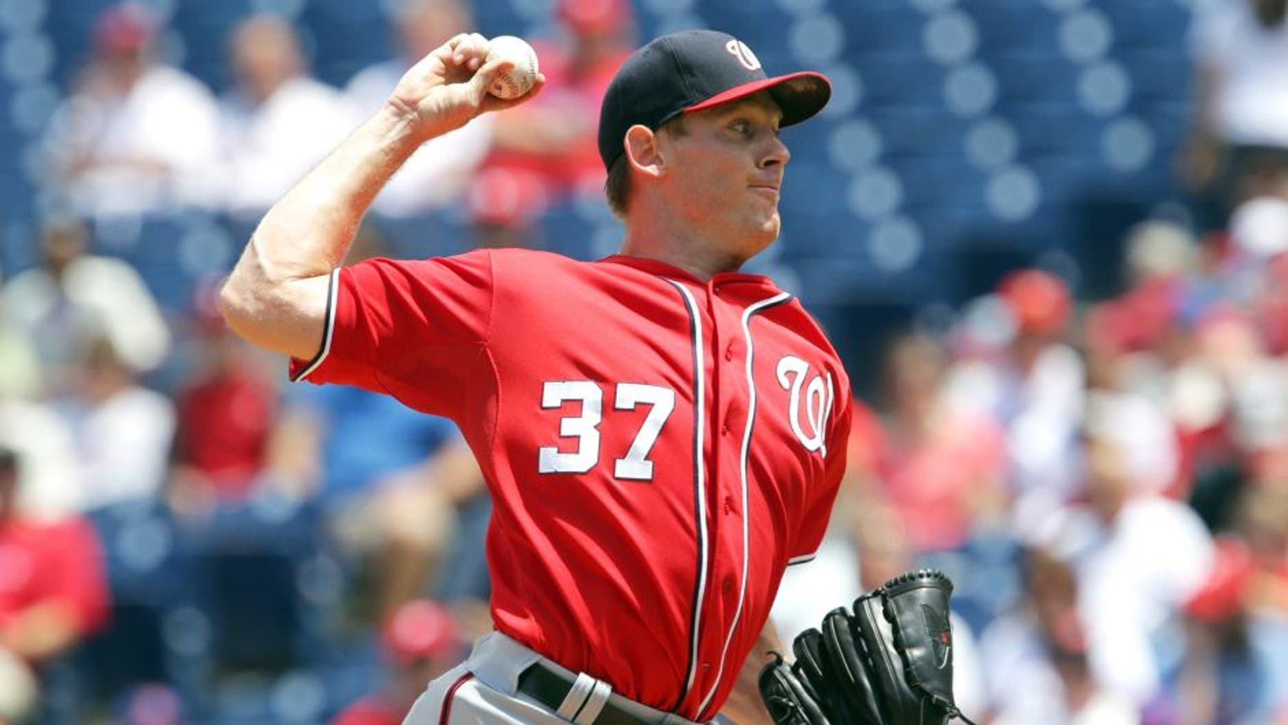 PHILADELPHIA, PA - JUNE 28: Stephen Strasburg #37 of the Washington Nationals throws a pitch in the first inning during game one of a doubleheader against the Philadelphia Phillies at Citizens Bank Park on June 28, 2015 in Philadelphia, Pennsylvania. (Photo by Hunter Martin/Getty Images)