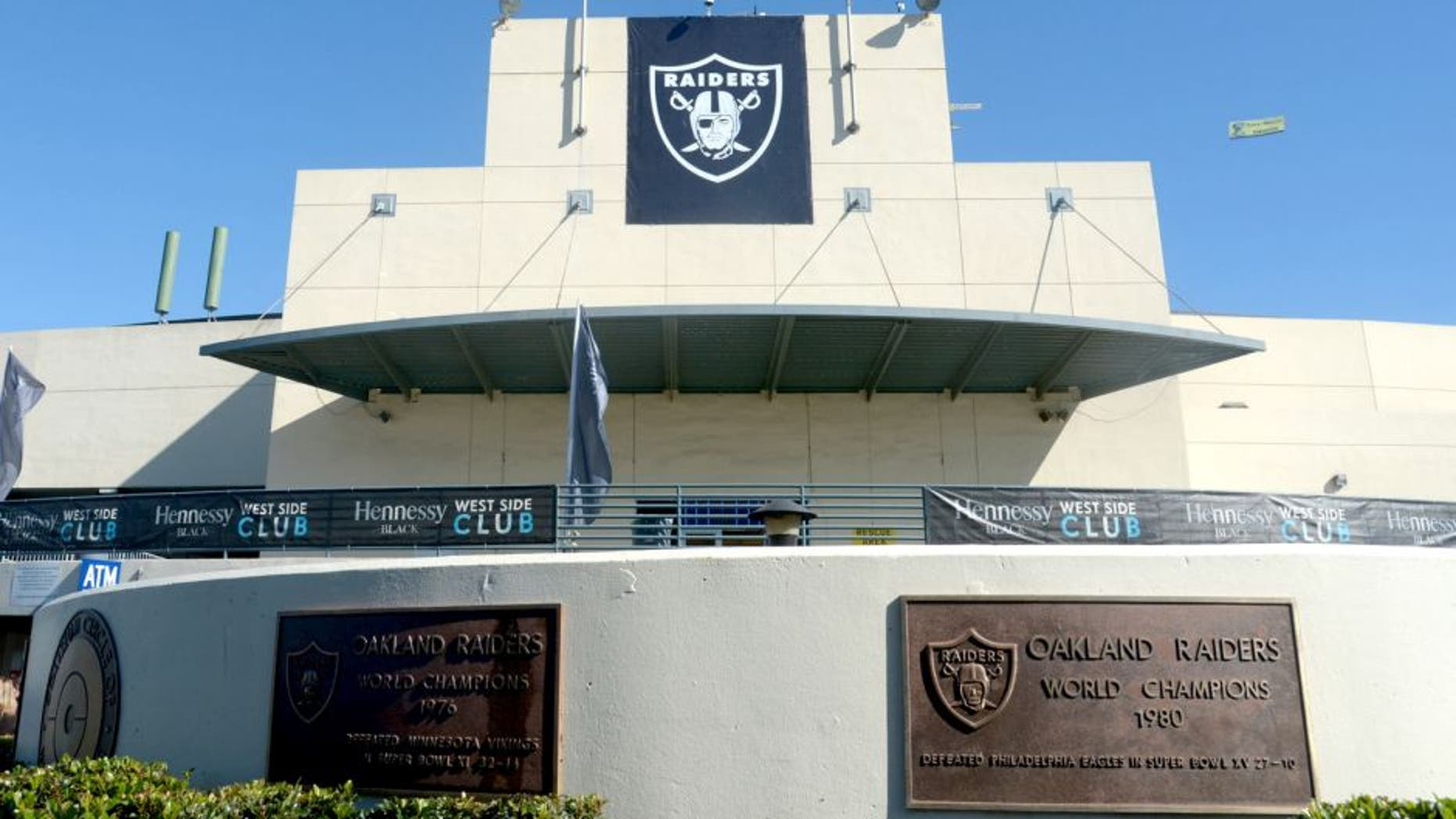 Nov 4, 2012; Oakland, CA, USA; General view of the O.co Coliseum exterior with commemorative plaques of the Oakland Raiders victories in Super Bowl XI and XV. Mandatory Credit: Kirby Lee/Image of Sport-USA TODAY Sports