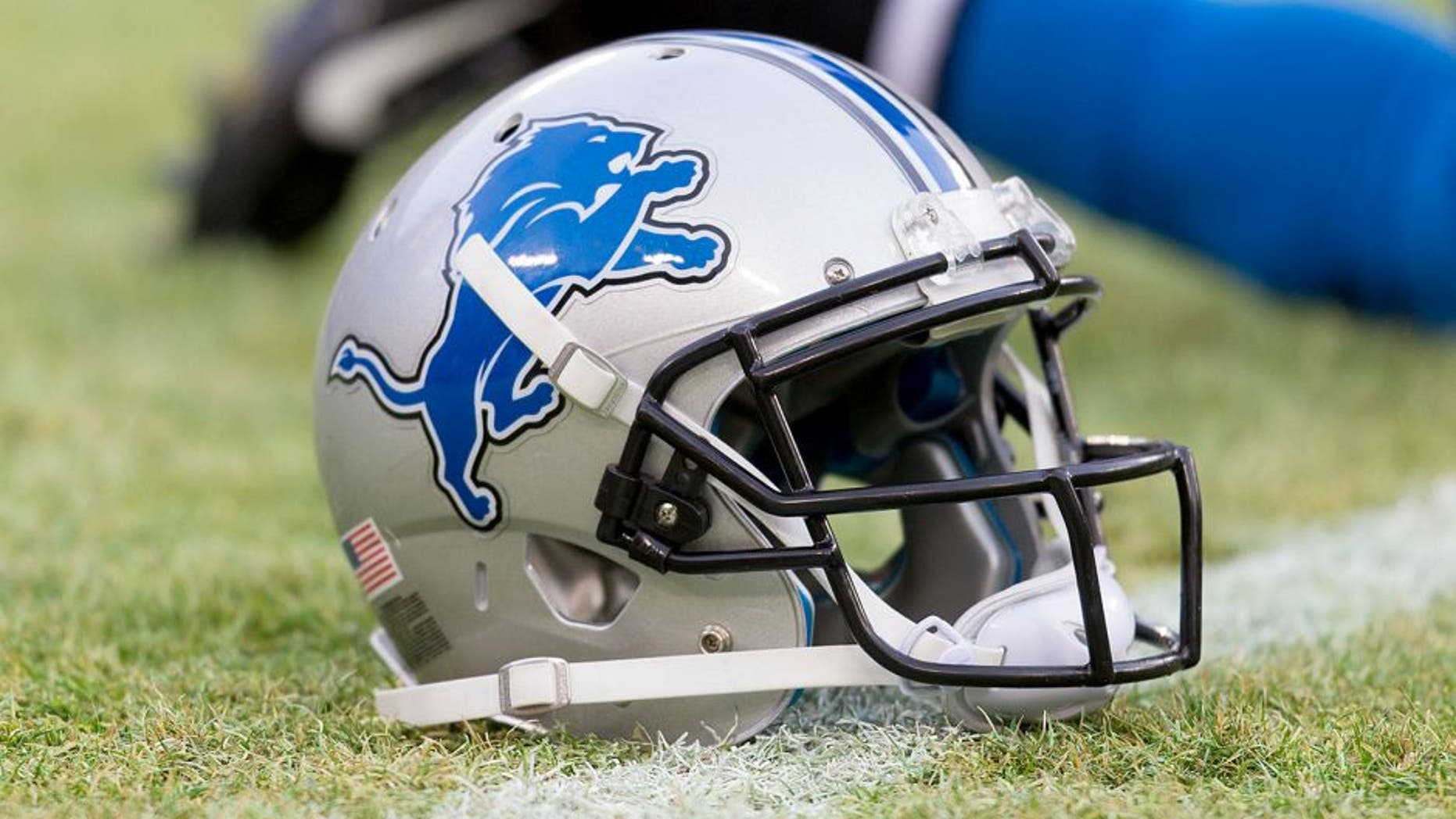 Dec 28, 2014; Green Bay, WI, USA; A Detroit Lions helmet sits on the field during warmups prior to the game against the Green Bay Packers at Lambeau Field. Green Bay won 30-20. Mandatory Credit: Jeff Hanisch-USA TODAY Sports