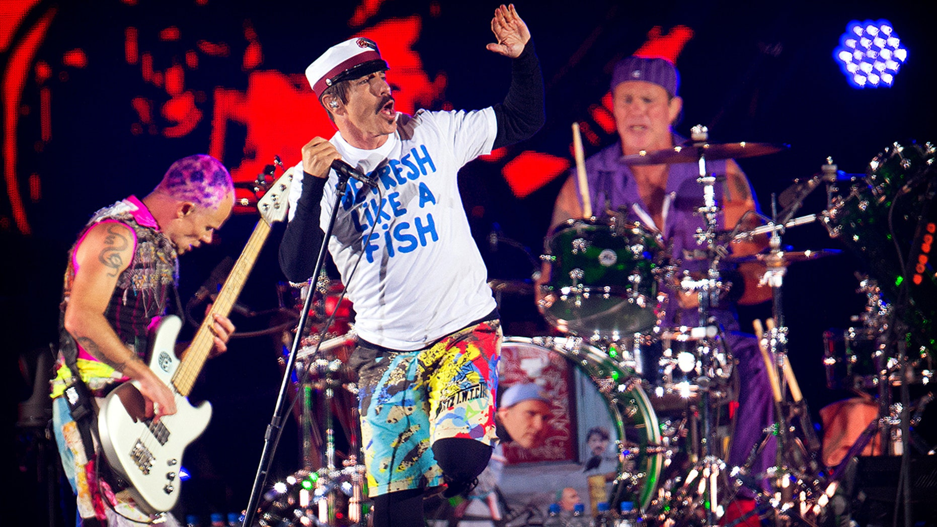 Red Hot Chili Peppers perform at the orange stage at Roskilde Festival in Roskilde, Denmark June 29, 2016.