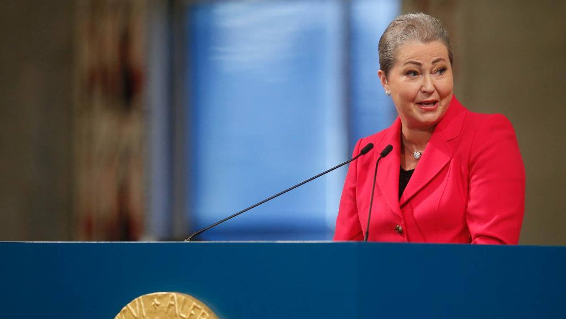 FILE - This is a Wednesday Dec. 10. 2015  file photo of Chair of the Nobel Committee, Kaci Kullmann Five, as she speaks at the Nobel Peace Prize award ceremony in Oslo, Norway. Norwegian Nobel officials said Monday Feb. 20, 2017 that the head of Norwegian Nobel Committee, Kaci Kullmann Five, has died at age 65. Five died Sunday after being treated for a recurrence of cancer.    (Cornelius Poppe / NTB scanpix via AP) NORWAY OUT