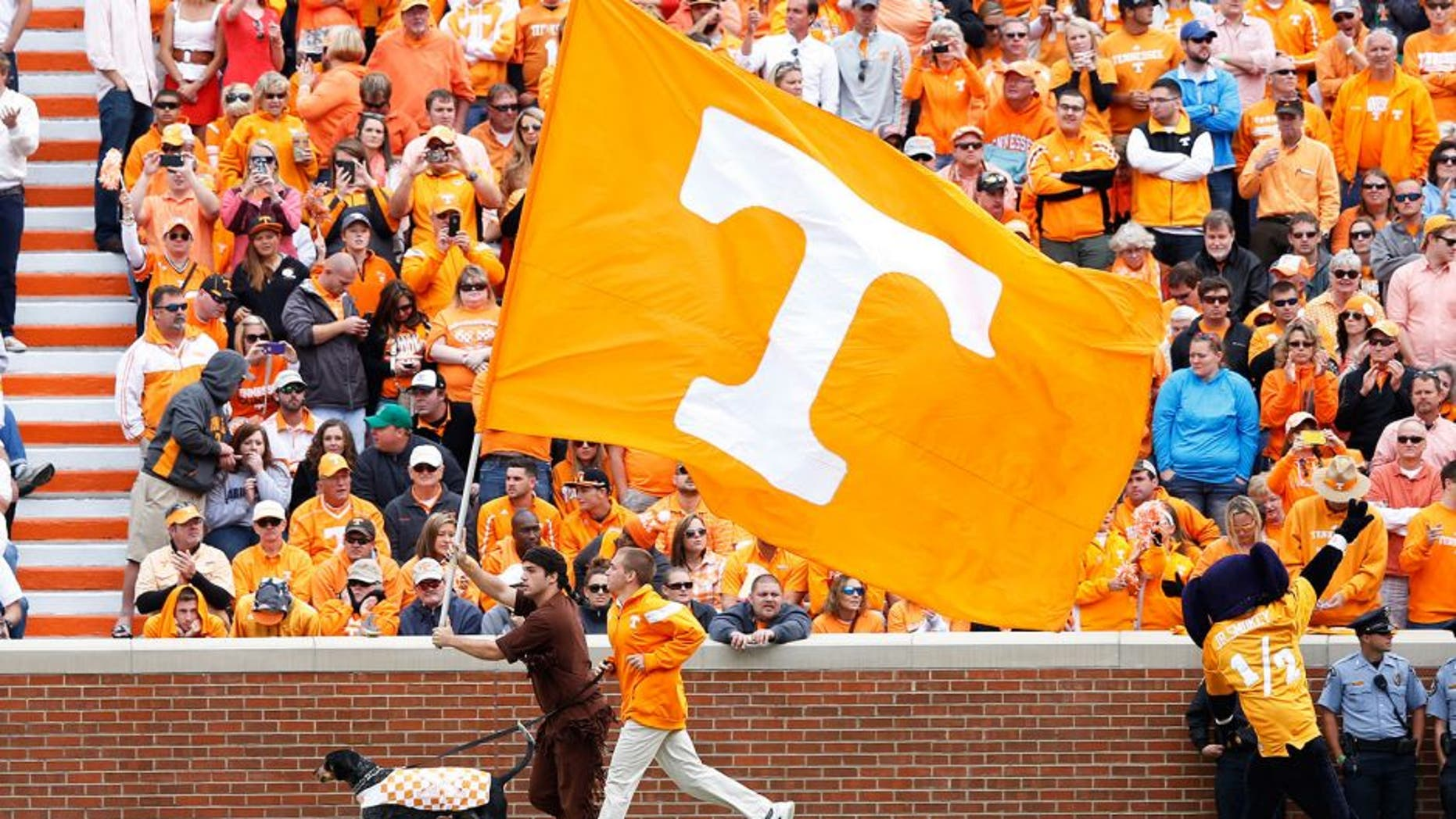 KNOXVILLE, TN - OCTOBER 4: Tennessee flag waves during the game between the Florida Gators and Tennessee Volunteers at Neyland Stadium on October 4, 2014 in Knoxville, Tennessee. Florida defeated Tennessee 10-9. (Photo by Joe Robbins/Getty Images) *** Local Caption ***
