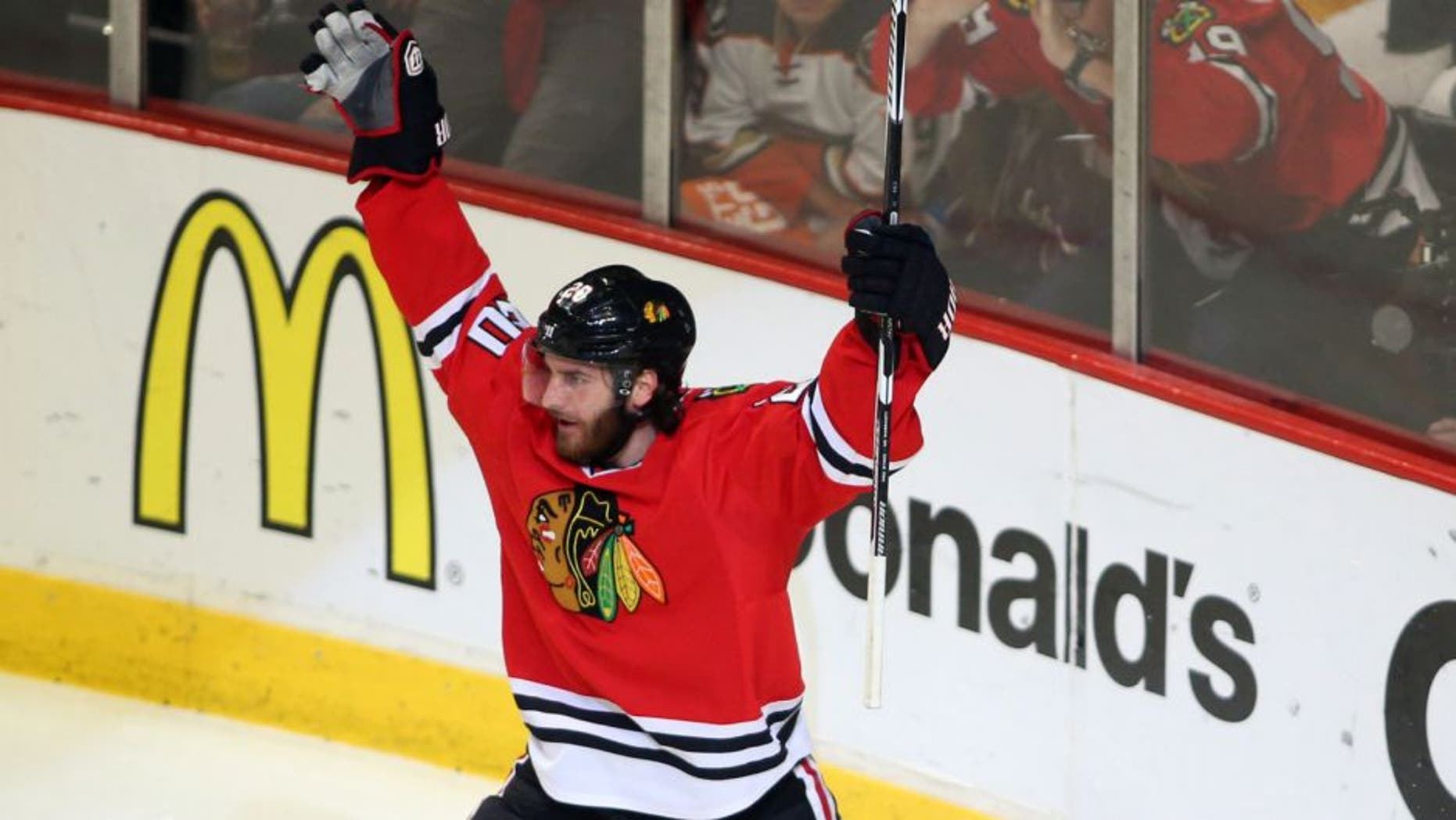 May 27, 2015; Chicago, IL, USA; Chicago Blackhawks left wing Brandon Saad (20) celebrates after scoring a goal against the Anaheim Ducks in the second period in game six of the Western Conference Final of the 2015 Stanley Cup Playoffs at United Center. Mandatory Credit: Jerry Lai-USA TODAY Sports