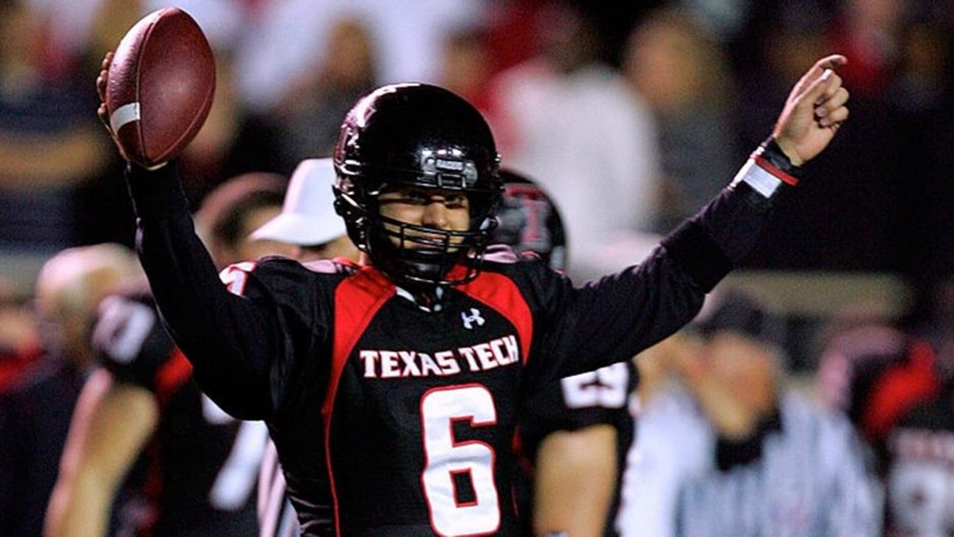 LUBBOCK, TX - NOVEMBER 17: Quarterback Graham Harrell #6 of the Texas Tech Red Raiders reacts after a 34-27 win against the Oklahoma Sooners at Jones AT&T Stadium on November 17, 2007 in Lubbock, Texas. (Photo by Ronald Martinez/Getty Images)