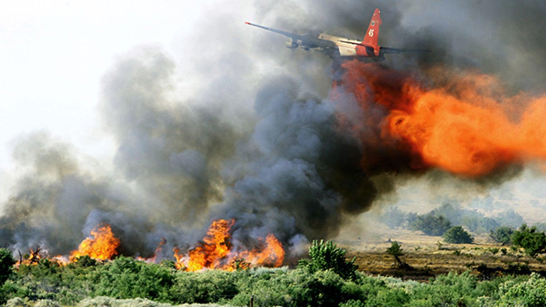July 1: A tanker drops fire retardant over a fire near Moapa National Wildlife Refuge, 55 miles northeast of Las Vegas.