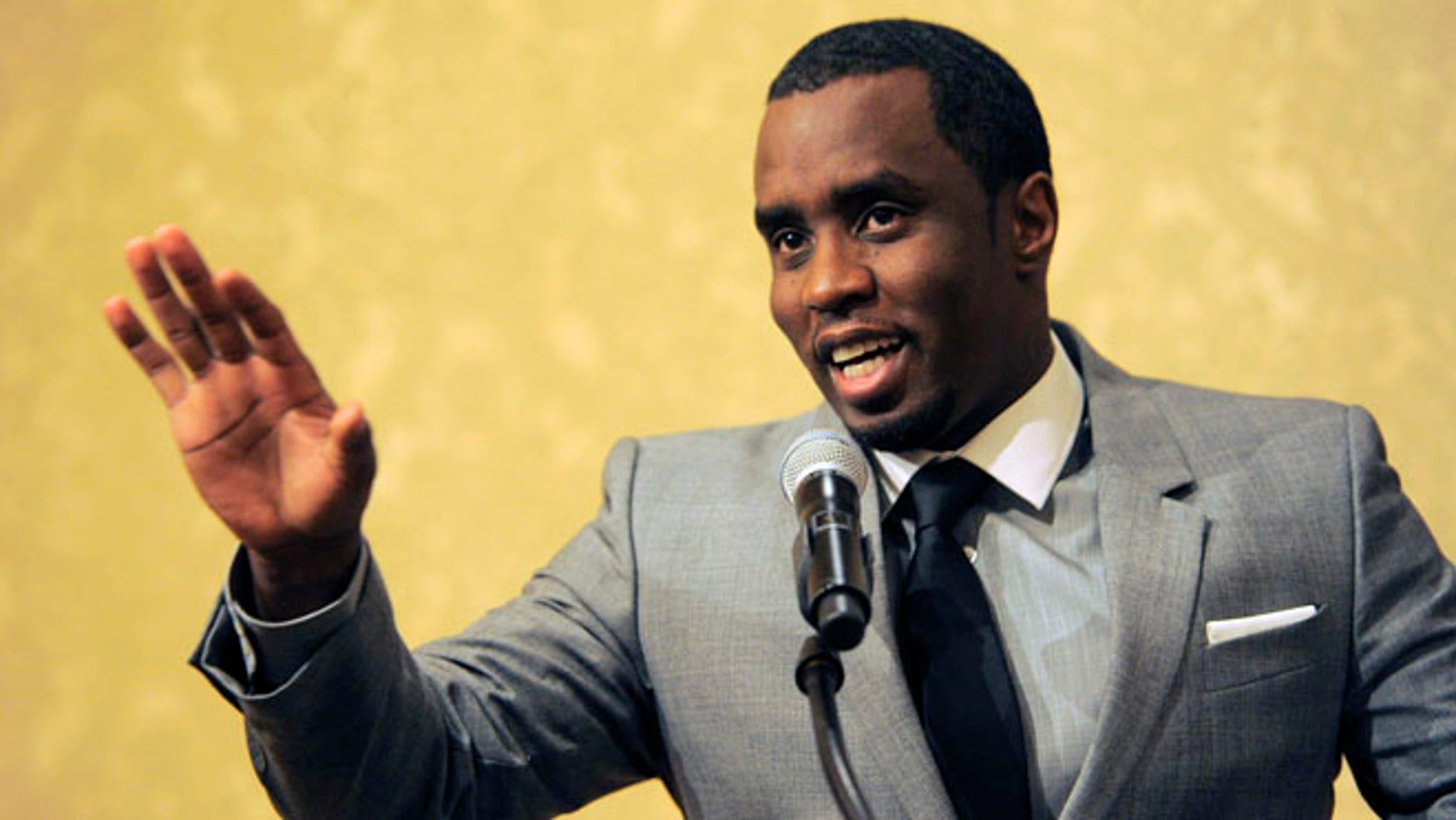 """July 26, 2013: Sean """"Diddy"""" Combs of the new network Revolt TV addresses reporters at the Beverly Hilton Hotel in Beverly Hills, Calif."""