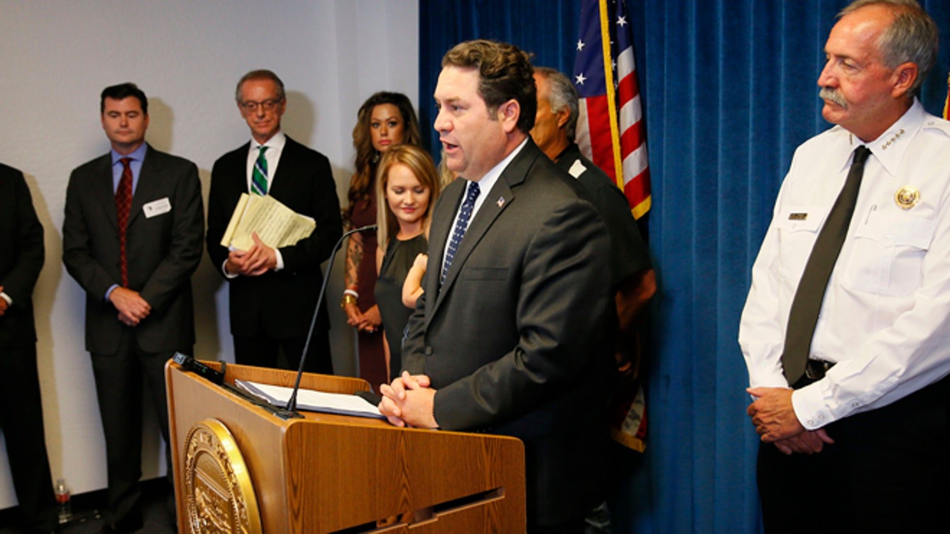June 29, 2015: Arizona Attorney General Mark Brnovich discusses the status of the Yarnell Hill Fire settlement negotiations at the Arizona Attorney General's office in Phoenix.