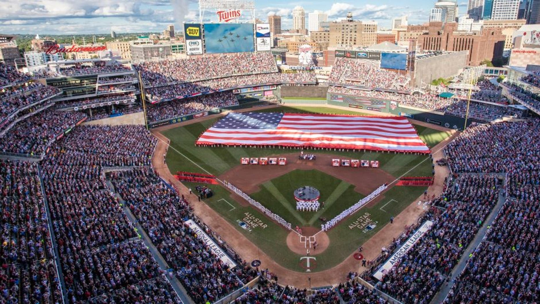 MINNEAPOLIS, MN - JULY 15: An inside view of Target Field as the Air Force Thunderbirds perform a flyover during the national anthem prior to the 85th MLB All-Star Game at Target Field on July 15, 2014 in Minneapolis, Minnesota. (Photo by Wayne Kryduba/Minnesota Twins/Getty Images)