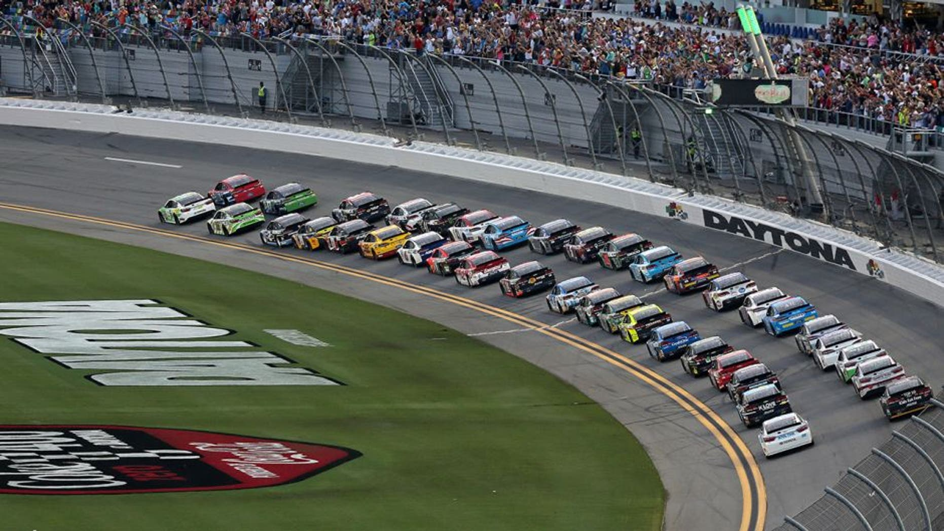 DAYTONA BEACH, FL - JULY 02: Cars race during the NASCAR Sprint Cup Series Coke Zero 400 Powered By Coca-Cola at Daytona International Speedway on July 2, 2016 in Daytona Beach, Florida. (Photo by Jerry Markland/Getty Images)