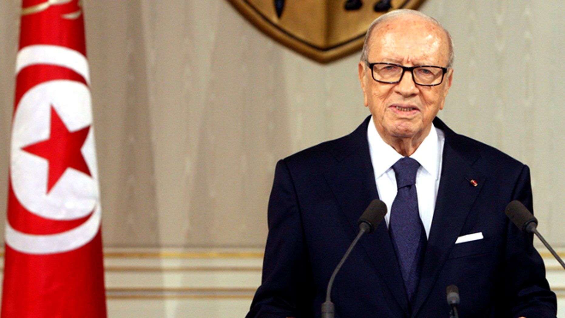 July 4, 2015: Tunisian President Beji Caid Essebsi, speaks as he announces the state emergency in Tunis, Tunisia.