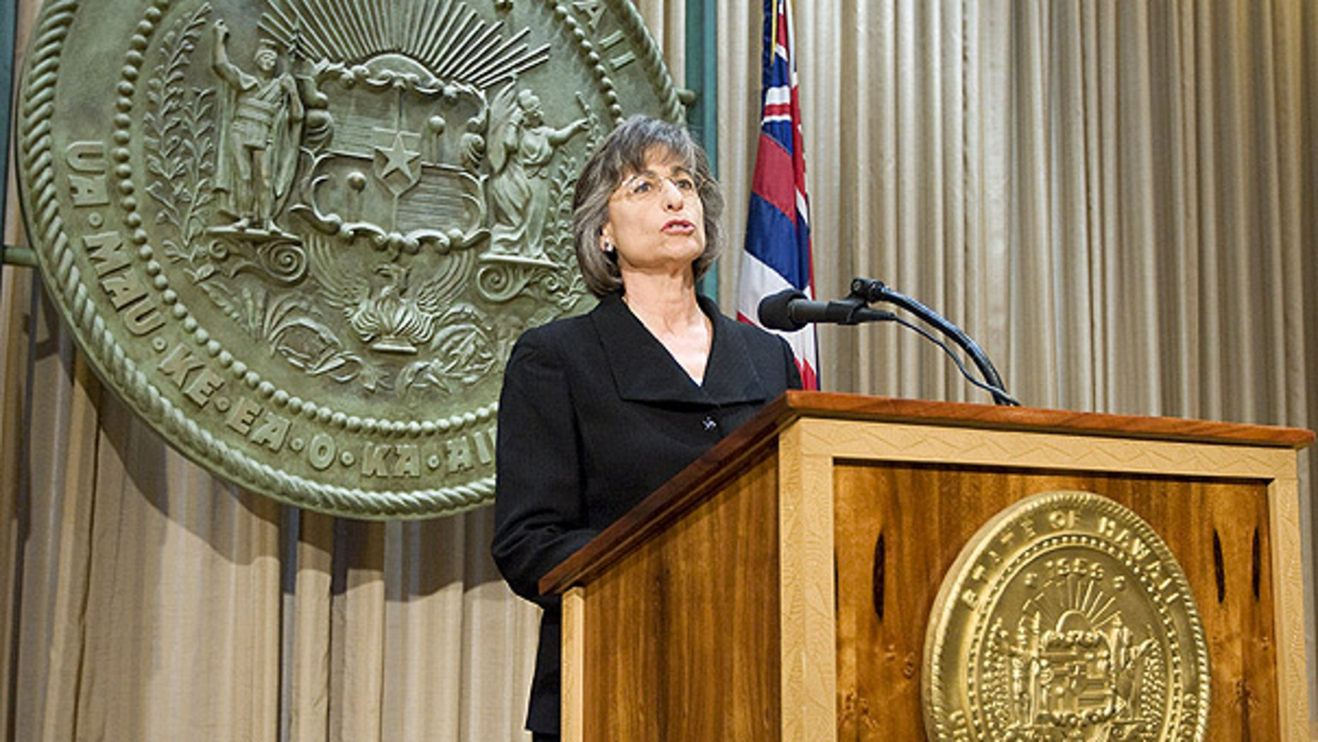 July 6: Gov. Linda Lingle holds a news conference in her office at the Hawaii State Capitol building in Honolulu.