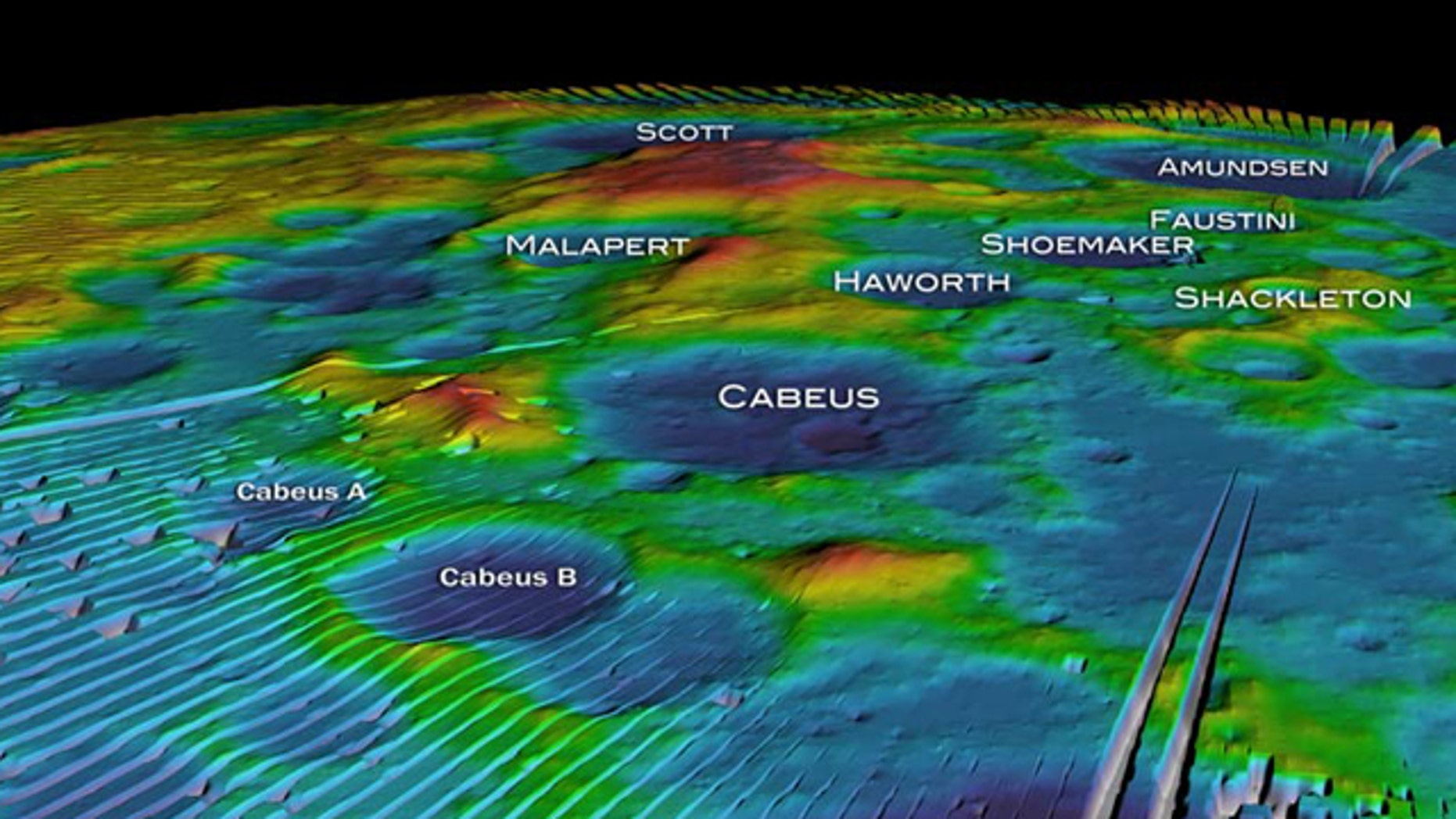This mosaic, taken from a NASA animation, shows altitude measurements of the moon's south pole from the LOLA instrument aboard the Lunar Reconnaissance Orbiter.
