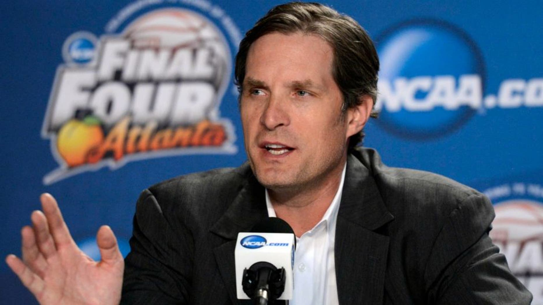 Apr 5, 2013; Atlanta, GA, USA; NCAA basketball former player Christian Laettner speaks during the 75 years of March madness press conference in preparation for the Final Four of the 2013 NCAA basketball tournament at the Georgia Dome. Mandatory Credit: Richard Mackson-USA TODAY Sports
