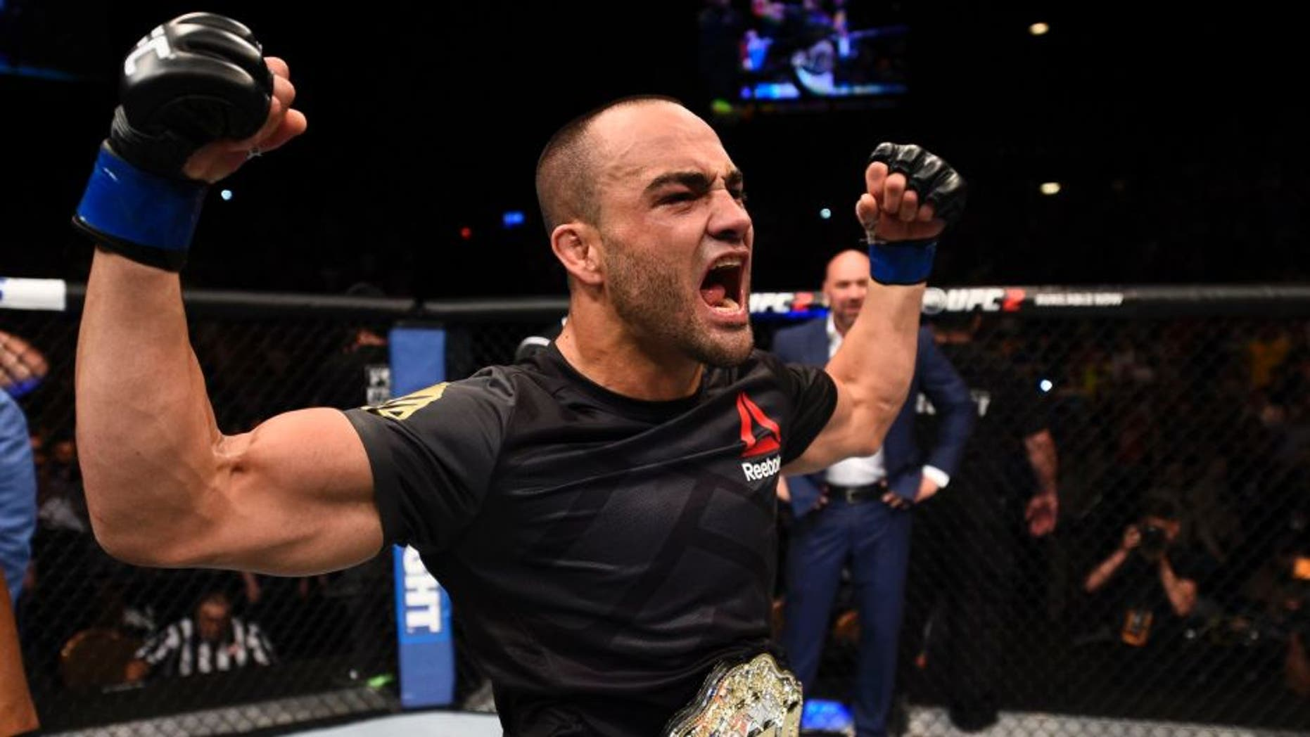 LAS VEGAS, NV - JULY 07: Eddie Alvarez celebrates after defeating Rafael Dos Anjos in their lightweight championship bout during the UFC Fight Night event inside the MGM Grand Garden Arena on July 7, 2016 in Las Vegas, Nevada. (Photo by Jeff Bottari/Zuffa LLC/Zuffa LLC via Getty Images)