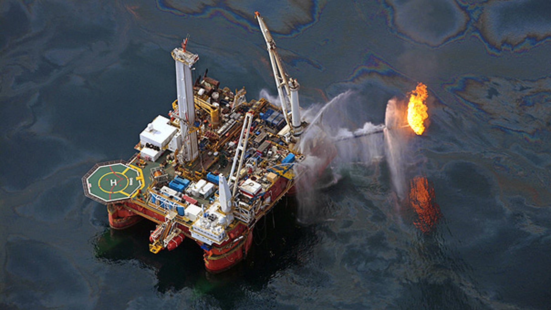 June 16: A drilling rig operates in the Gulf of Mexico at the site of the Deepwater Horizon disaster.