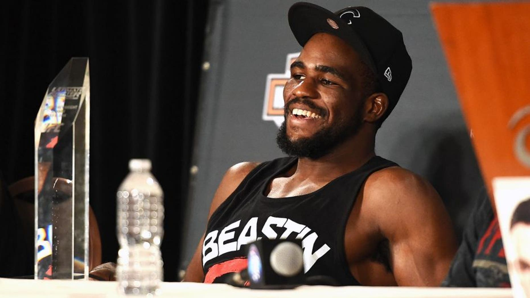 LAS VEGAS, NV - JULY 6: Corey Anderson speaks during the Ultimate Fighter Finale post fight press conference inside the Mandalay Bay Events Center on July 6, 2014 in Las Vegas, Nevada. (Photo by Jeff Bottari/Zuffa LLC/Zuffa LLC via Getty Images) *** Local Caption *** Corey Anderson