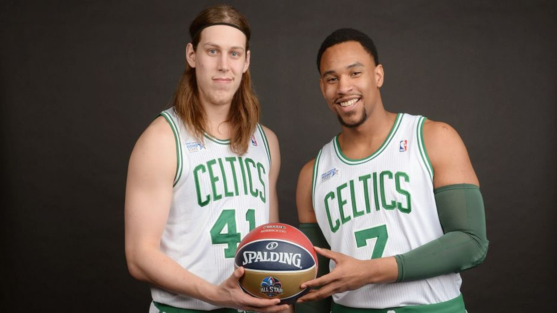 NEW ORLEANS, LA - FEBRUARY 14: Kelly Olynyk #41 and Jared Sullinger #7 of Team Webber poses for a portrait prior to the BBVA Compass Rising Stars Challenge 2014 as part of the 2014 NBA All-Star Weekend on February 13, 2014 at House of Blues in New Orleans, Louisiana. NOTE TO USER: User expressly acknowledges and agrees that, by downloading and/or using this Photograph, user is consenting to the terms and conditions of the Getty Images License Agreement. Mandatory Copyright Notice: Copyright 2014 NBAE (Photo by Jennifer Pottheiser/NBAE via Getty Images)