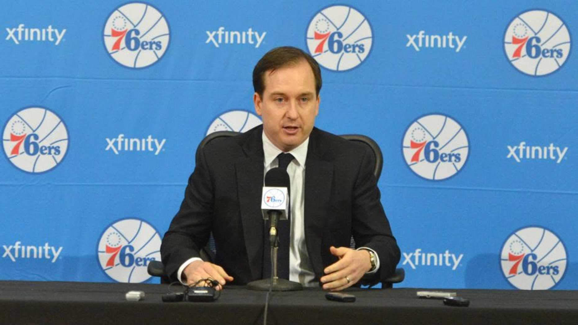 PHILADELPHIA, PA - JUNE 27: Sam Hinkie, President of Basketball Operations and General Manager of the Philadelphia 76ers, speaks with the media during a press conference on June 27, 2014 at the Philadelphia College of Osteopathic Medicine in Philadelphia, Pennsylvania. NOTE TO USER: User expressly acknowledges and agrees that, by downloading and or using this photograph, User is consenting to the terms and conditions of the Getty Images License Agreement. Mandatory Copyright Notice: Copyright 2014 NBAE (Photo by Jesse D. Garrabrant/NBAE via Getty Images)